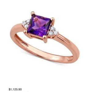 NWT Rose Gold Engagement Ring Amethyst and Diamond Size 7